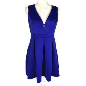 Windsor Cobalt Blue Fit & Flare Short V-neck Dress